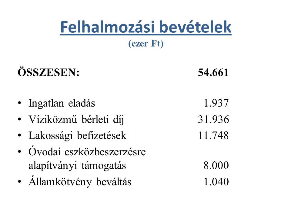 Felhalmozási bevételek (ezer Ft) ÖSSZESEN: 54.661 Ingatlan eladás 1.937 Víziközmű bérleti díj 31.936 Lakossági befizetések 11.748 Óvodai eszközbeszerzésre alapítványi támogatás 8.000 Államkötvény beváltás 1.040