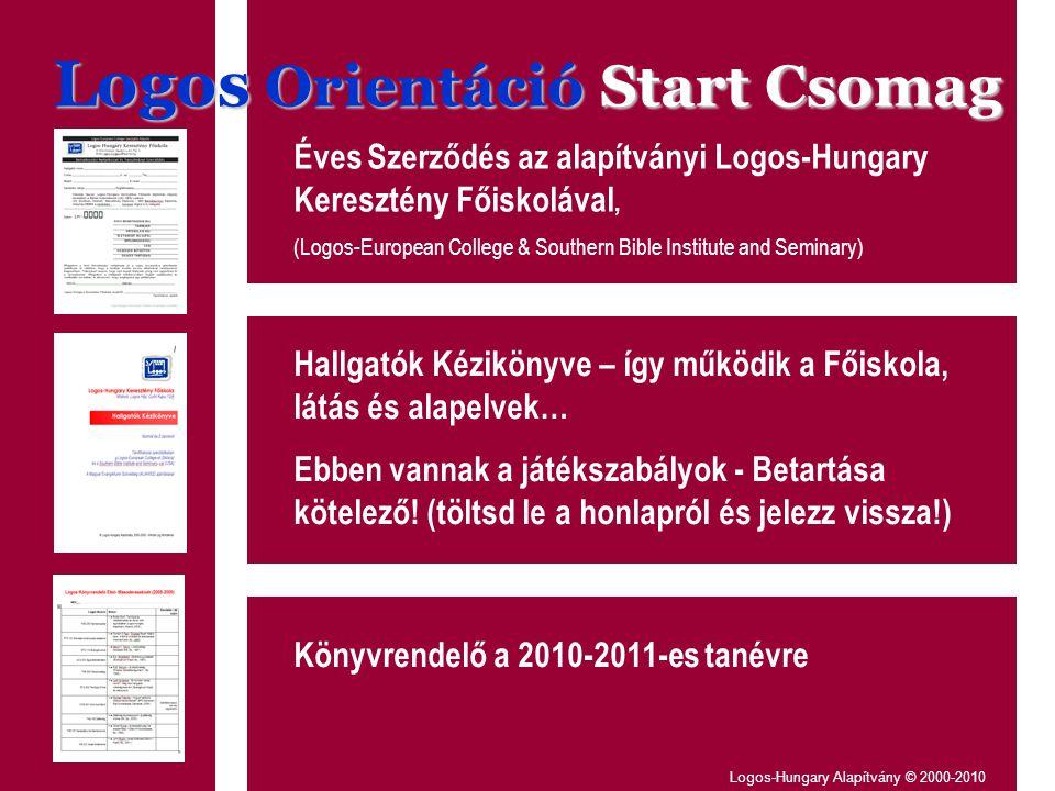 Logos Orientáció Start Csomag Éves Szerződés az alapítványi Logos-Hungary Keresztény Főiskolával, (Logos-European College & Southern Bible Institute and Seminary) Hallgatók Kézikönyve – így működik a Főiskola, látás és alapelvek… Ebben vannak a játékszabályok - Betartása kötelező.