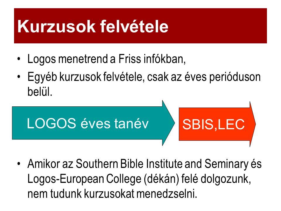 Logos menetrend a Friss infókban, Egyéb kurzusok felvétele, csak az éves perióduson belül.