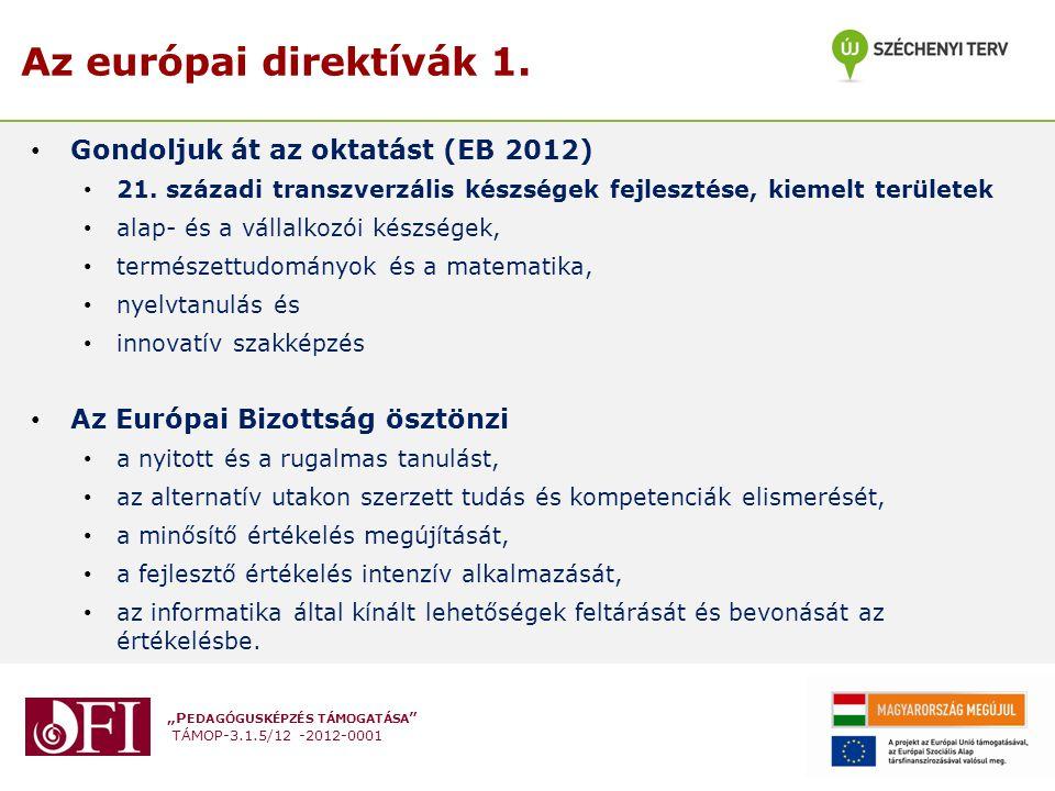 """""""P EDAGÓGUSKÉPZÉS TÁMOGATÁSA """" TÁMOP-3.1.5/12 -2012-0001 Az európai direktívák 1. Gondoljuk át az oktatást (EB 2012) 21. századi transzverzális készsé"""