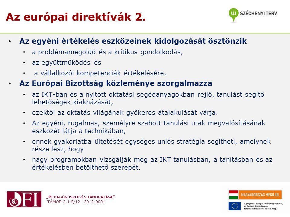 """""""P EDAGÓGUSKÉPZÉS TÁMOGATÁSA """" TÁMOP-3.1.5/12 -2012-0001 Az európai direktívák 2. Az egyéni értékelés eszközeinek kidolgozását ösztönzik a problémameg"""