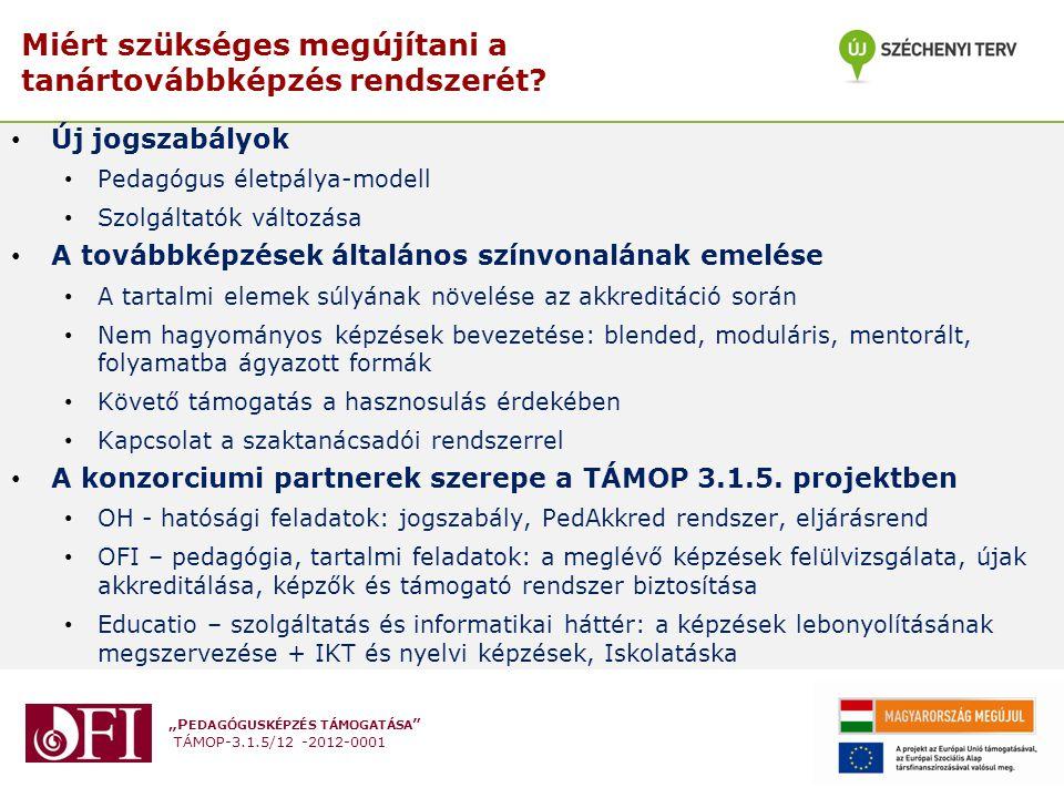 """""""P EDAGÓGUSKÉPZÉS TÁMOGATÁSA """" TÁMOP-3.1.5/12 -2012-0001 Miért szükséges megújítani a tanártovábbképzés rendszerét? Új jogszabályok Pedagógus életpály"""