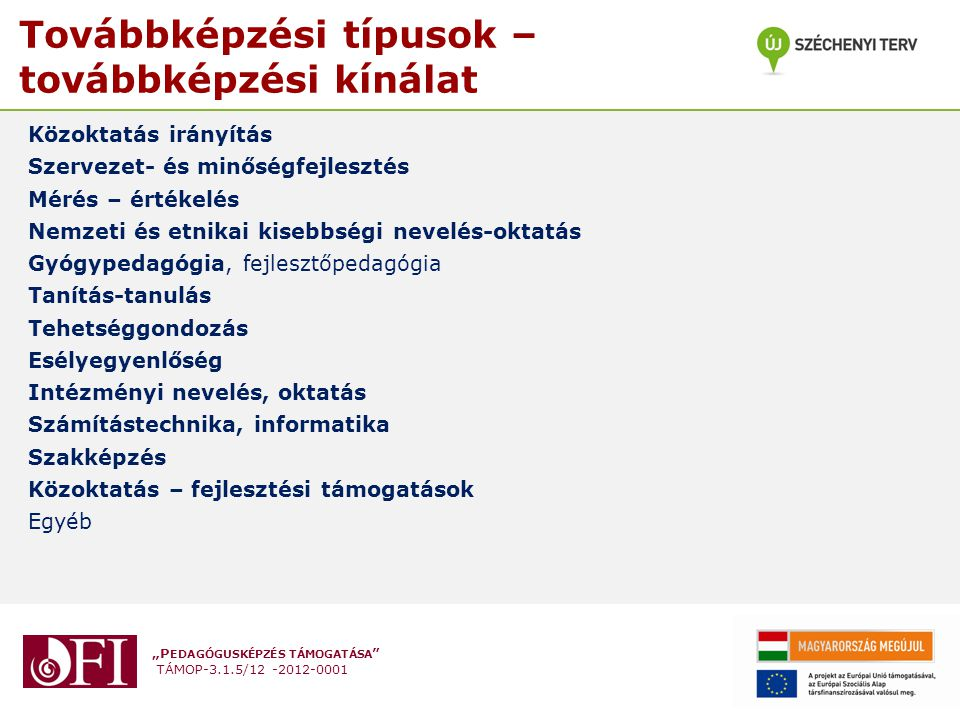 """""""P EDAGÓGUSKÉPZÉS TÁMOGATÁSA """" TÁMOP-3.1.5/12 -2012-0001 Továbbképzési típusok – továbbképzési kínálat Közoktatás irányítás Szervezet- és minőségfejle"""