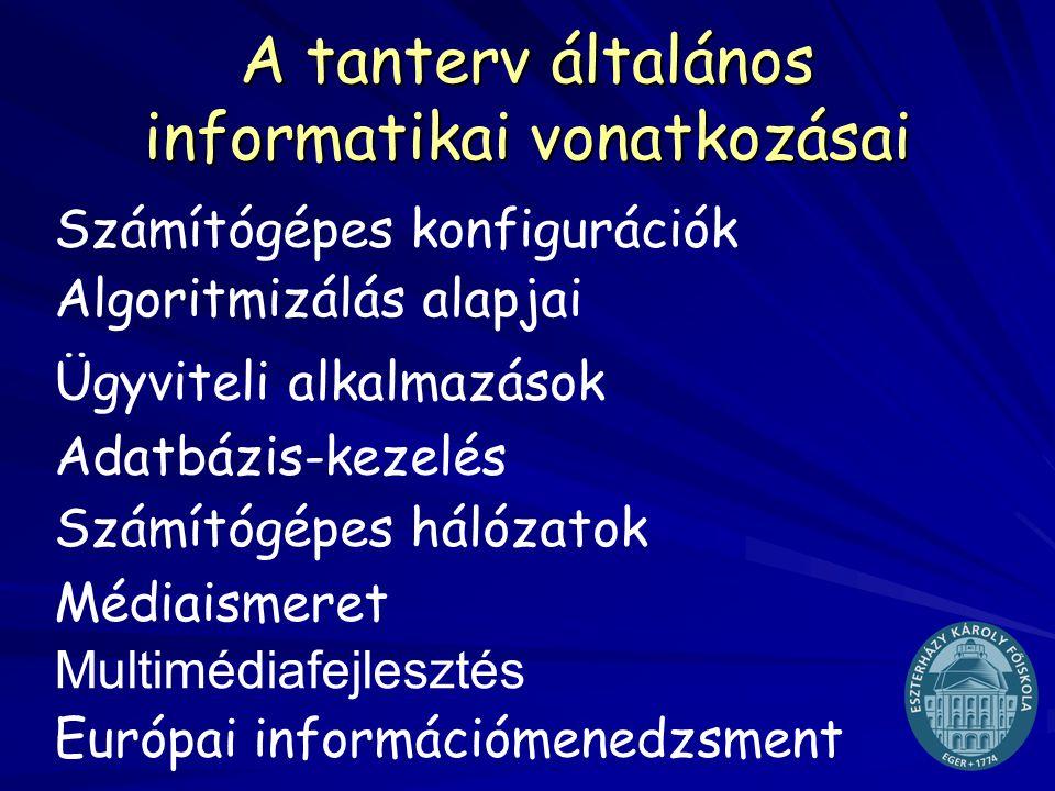 Tudásalapú társadalom - információs műveltség e-mail: tovarij@ektf.hu A tanterv általános informatikai vonatkozásai Számítógépes konfigurációk Algorit