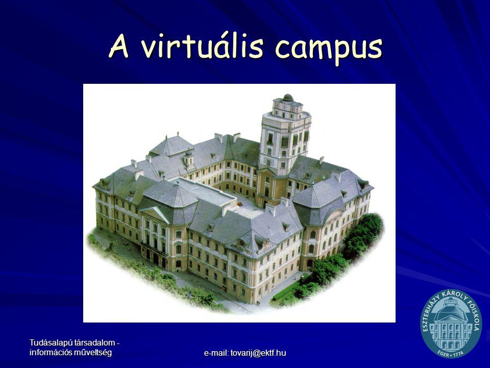 Tudásalapú társadalom - információs műveltség e-mail: tovarij@ektf.hu A virtuális campus WebCT
