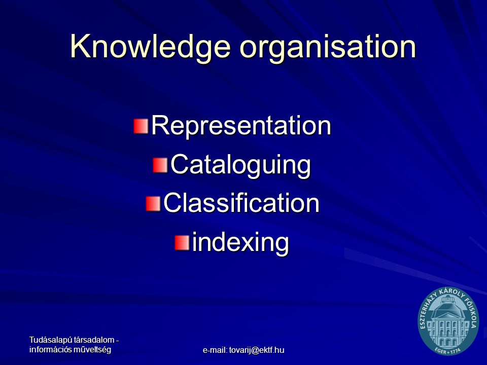 Tudásalapú társadalom - információs műveltség e-mail: tovarij@ektf.hu Knowledge organisation Representation Cataloguing Classification indexing