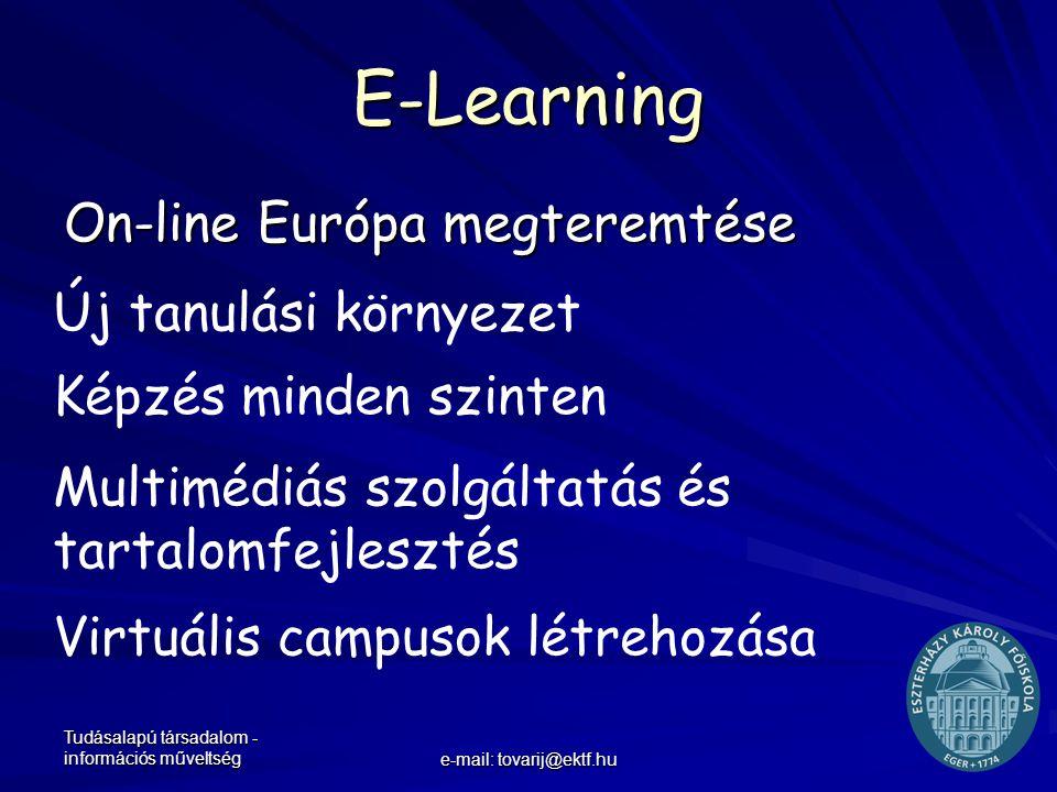 Tudásalapú társadalom - információs műveltség e-mail: tovarij@ektf.hu E-Learning On-line Európa megteremtése Új tanulási környezet Képzés minden szint