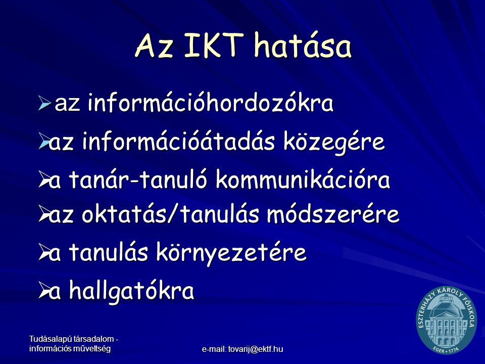 Tudásalapú társadalom - információs műveltség e-mail: tovarij@ektf.hu Az IKT hatása  az információhordozókra  az információátadás közegére  a tanár