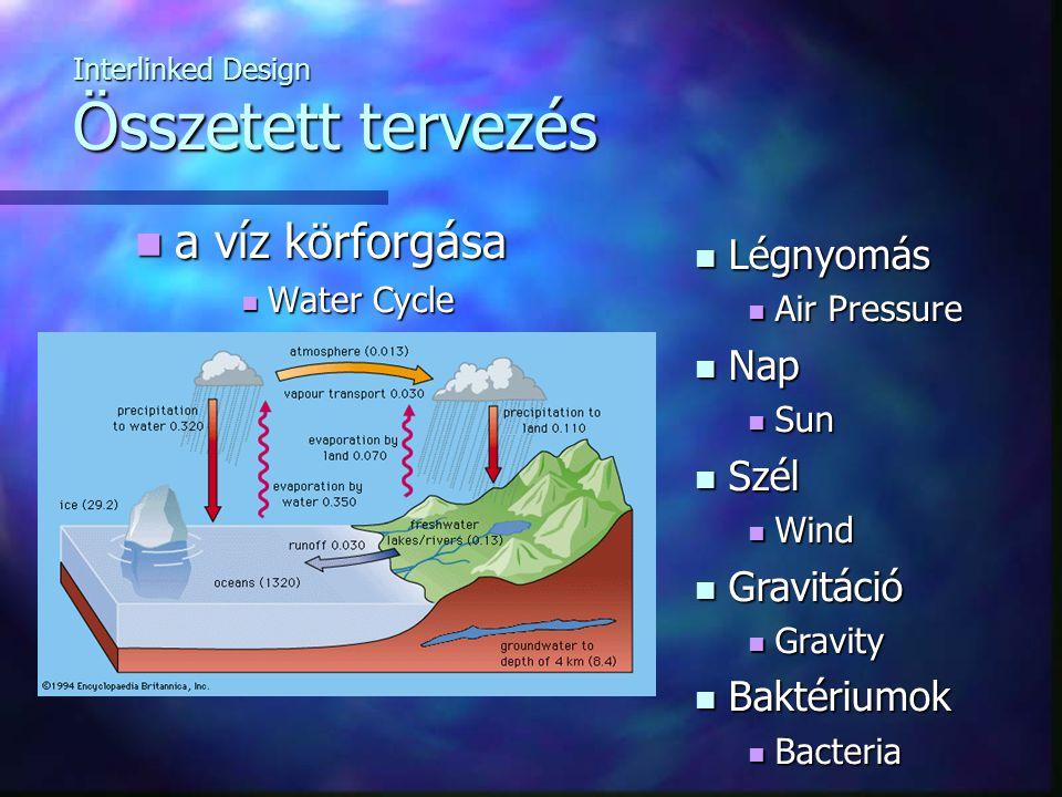 Interlinked Design Összetett tervezés a víz körforgása a víz körforgása Water Cycle Water Cycle Légnyomás Légnyomás Air Pressure Air Pressure Nap Nap Sun Sun Szél Szél Wind Wind Gravitáció Gravitáció Gravity Gravity Baktériumok Baktériumok Bacteria Bacteria