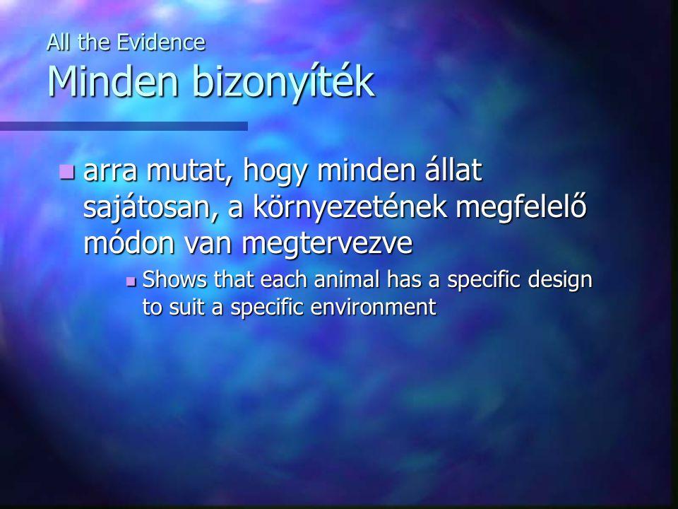 All the Evidence Minden bizonyíték arra mutat, hogy minden állat sajátosan, a környezetének megfelelő módon van megtervezve arra mutat, hogy minden állat sajátosan, a környezetének megfelelő módon van megtervezve Shows that each animal has a specific design to suit a specific environment Shows that each animal has a specific design to suit a specific environment