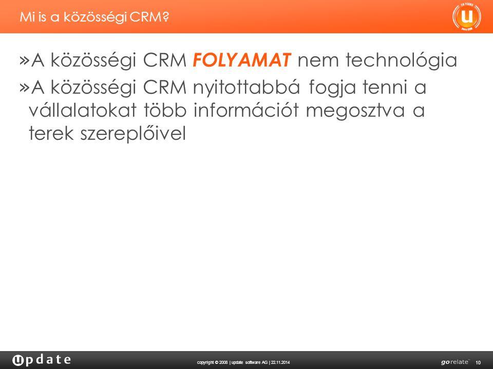 copyright © 2008 | update software AG | 22.11.2014 10 Mi is a közösségi CRM? » A közösségi CRM FOLYAMAT nem technológia » A közösségi CRM nyitottabbá