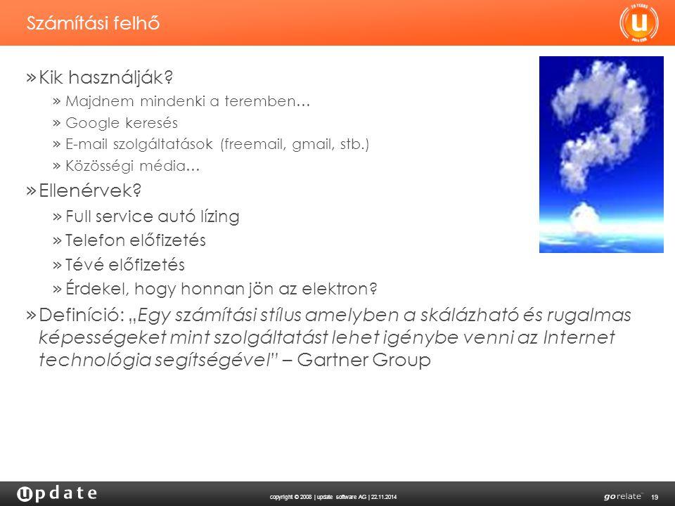 copyright © 2008 | update software AG | 22.11.2014 19 Számítási felhő » Kik használják? » Majdnem mindenki a teremben… » Google keresés » E-mail szolg
