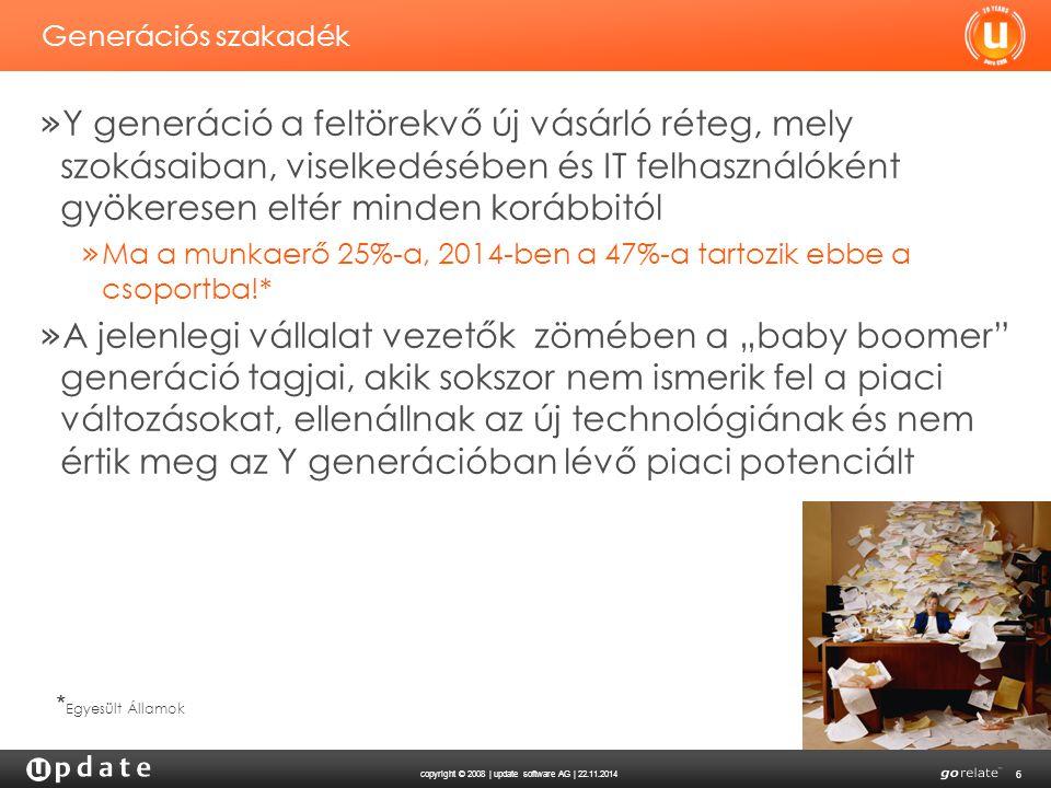 copyright © 2008 | update software AG | 22.11.2014 6 Generációs szakadék » Y generáció a feltörekvő új vásárló réteg, mely szokásaiban, viselkedésében