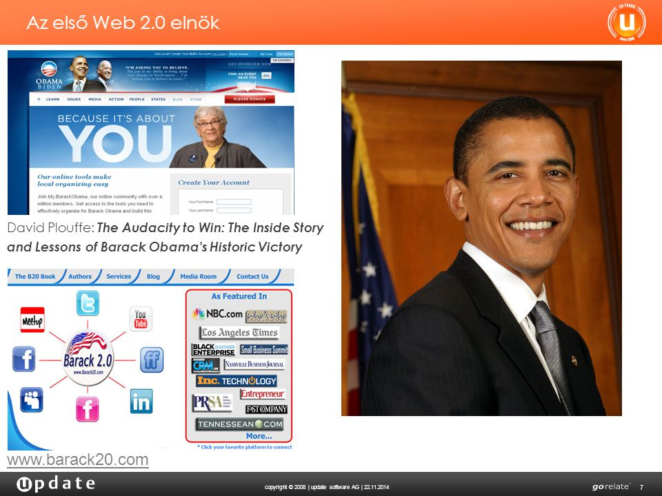 copyright © 2008 | update software AG | 22.11.2014 7 Az első Web 2.0 elnök www.barack20.com David Plouffe: The Audacity to Win: The Inside Story and Lessons of Barack Obama s Historic Victory