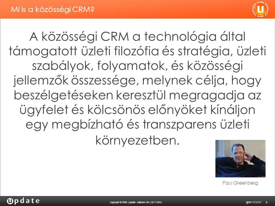 copyright © 2008 | update software AG | 22.11.2014 9 Mi is a közösségi CRM? A közösségi CRM a technológia által támogatott üzleti filozófia és stratég