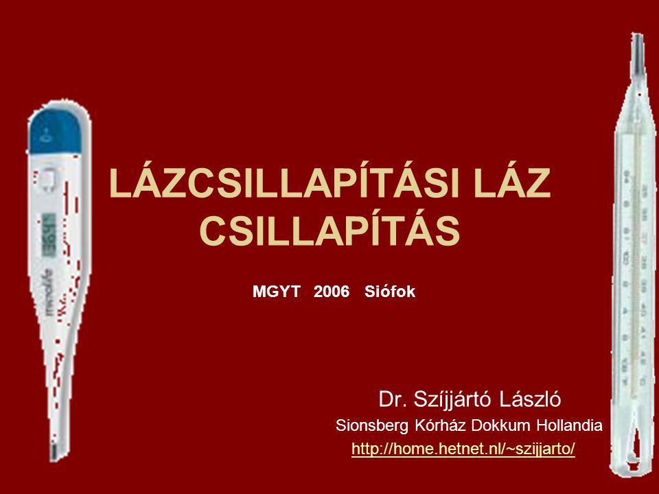 LÁZCSILLAPÍTÁSI LÁZ CSILLAPÍTÁS Dr. Szíjjártó László Sionsberg Kórház Dokkum Hollandia http://home.hetnet.nl/~szijjarto/ MGYT 2006 Siófok