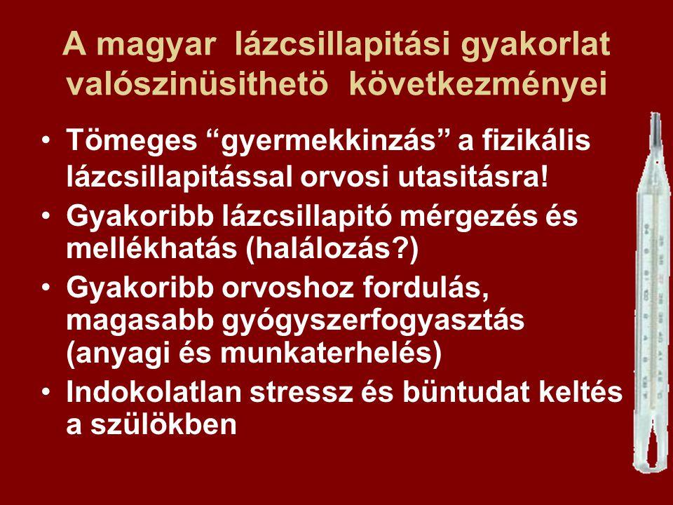 """A magyar lázcsillapitási gyakorlat valószinüsithetö következményei Tömeges """"gyermekkinzás"""" a fizikális lázcsillapitással orvosi utasitásra! Gyakoribb"""