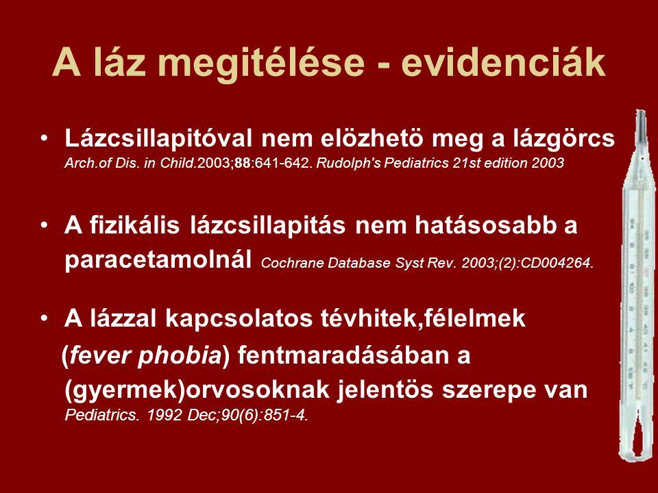 A láz megitélése - evidenciák Lázcsillapitóval nem elözhetö meg a lázgörcs Arch.of Dis. in Child.2003;88:641-642. Rudolph's Pediatrics 21st edition 20