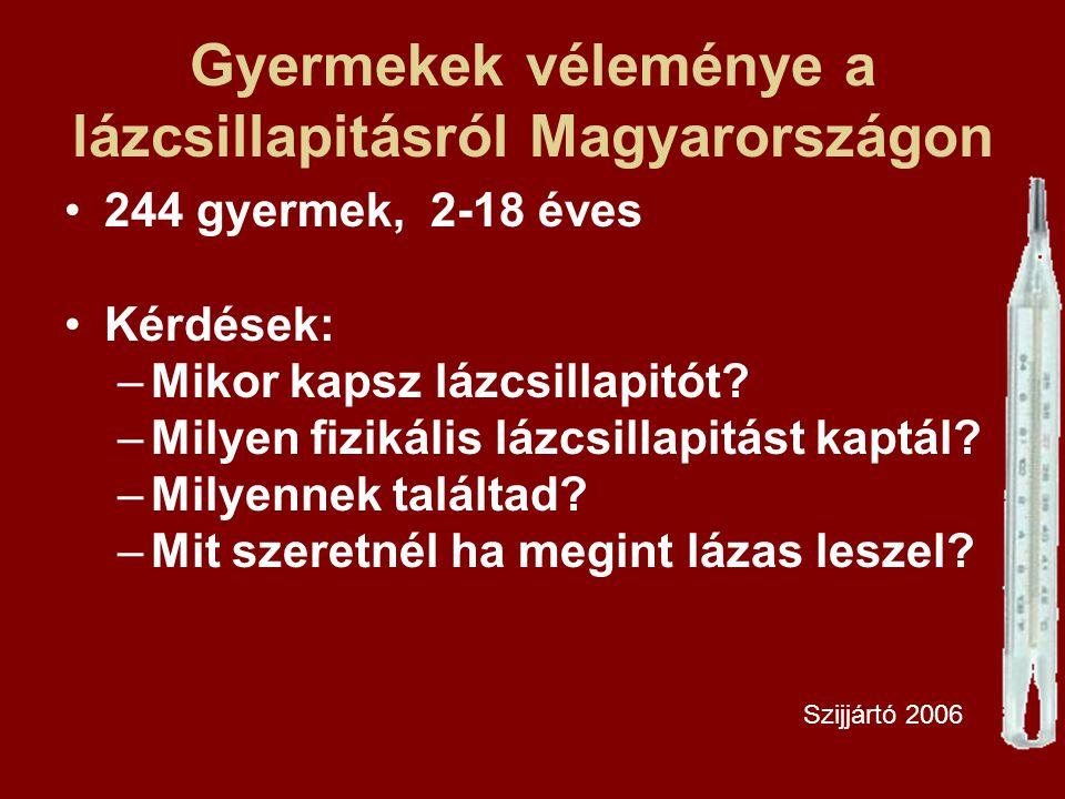 Gyermekek véleménye a lázcsillapitásról Magyarországon 244 gyermek, 2-18 éves Kérdések: –Mikor kapsz lázcsillapitót? –Milyen fizikális lázcsillapitást