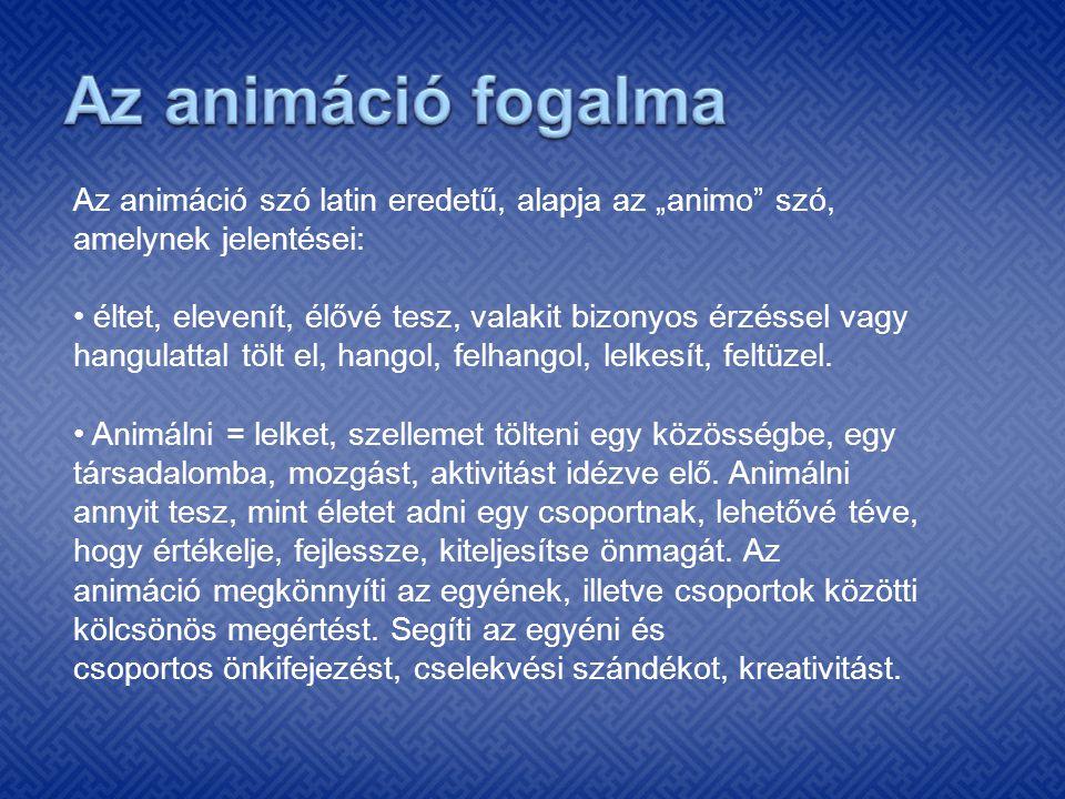 """Az animáció szó latin eredetű, alapja az """"animo"""" szó, amelynek jelentései: éltet, elevenít, élővé tesz, valakit bizonyos érzéssel vagy hangulattal töl"""
