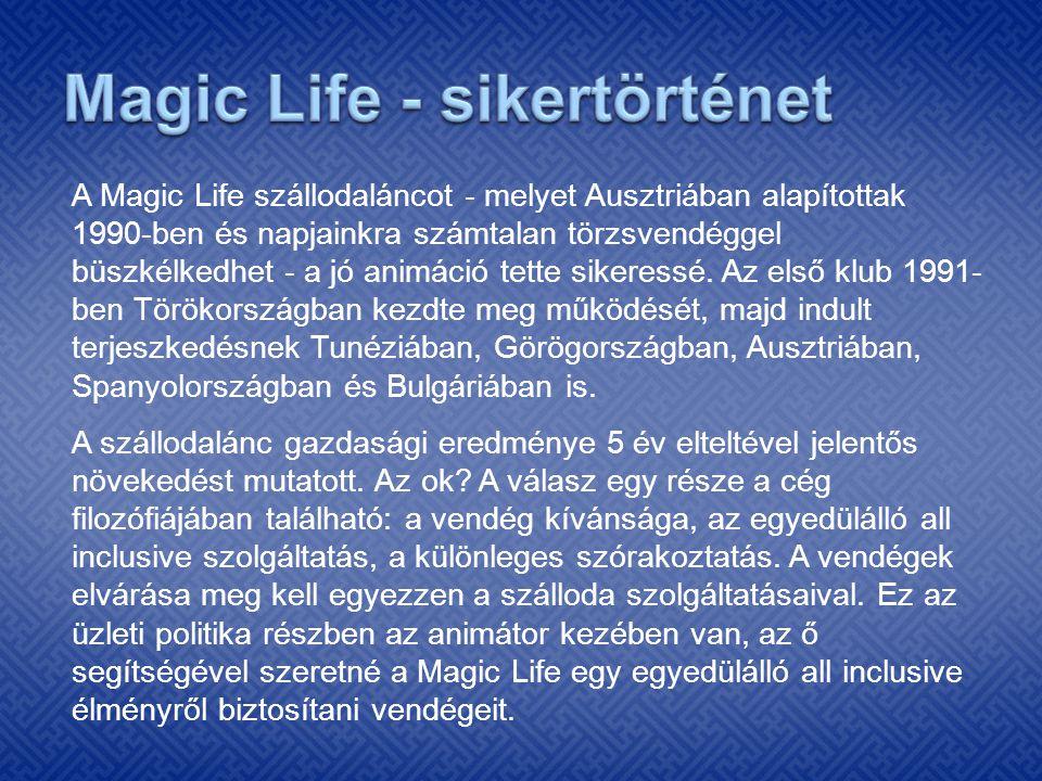 A Magic Life szállodaláncot - melyet Ausztriában alapítottak 1990-ben és napjainkra számtalan törzsvendéggel büszkélkedhet - a jó animáció tette siker