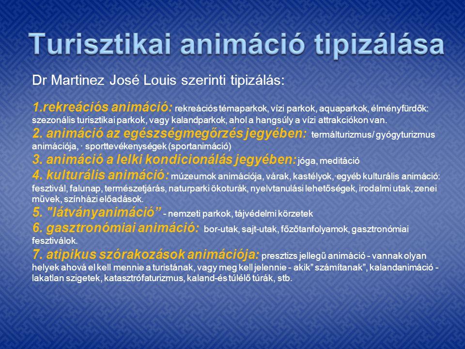 Dr Martinez José Louis szerinti tipizálás: 1.rekreációs animáció: rekreációs témaparkok, vízi parkok, aquaparkok, élményfürdők: szezonális turisztikai