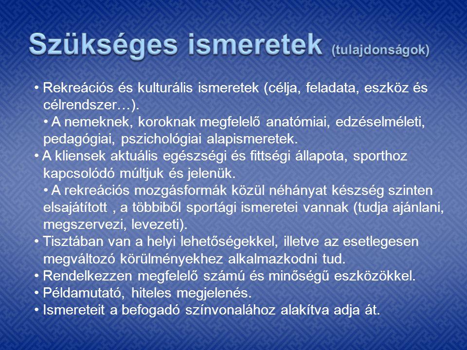 Rekreációs és kulturális ismeretek (célja, feladata, eszköz és célrendszer…). A nemeknek, koroknak megfelelő anatómiai, edzéselméleti, pedagógiai, psz