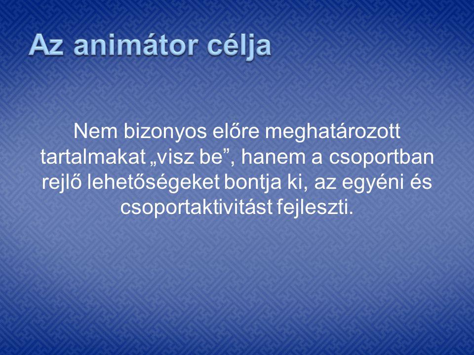 Rekreáció Animáció, animálás, animátor fogalma Szocio- kulturális animáció Turisztikai (rendezvény) animáció