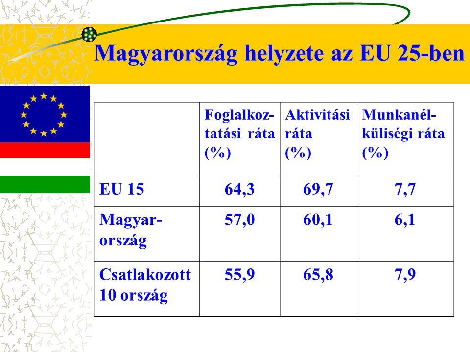 Magyarország helyzete az EU 25-ben Foglalkoz- tatási ráta (%) Aktivitási ráta (%) Munkanél- küliségi ráta (%) EU 1564,369,77,7 Magyar- ország 57,060,16,1 Csatlakozott 10 ország 55,965,87,9