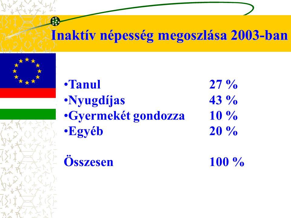 Inaktív népesség megoszlása 2003-ban Tanul27 % Nyugdíjas43 % Gyermekét gondozza10 % Egyéb20 % Összesen 100 %
