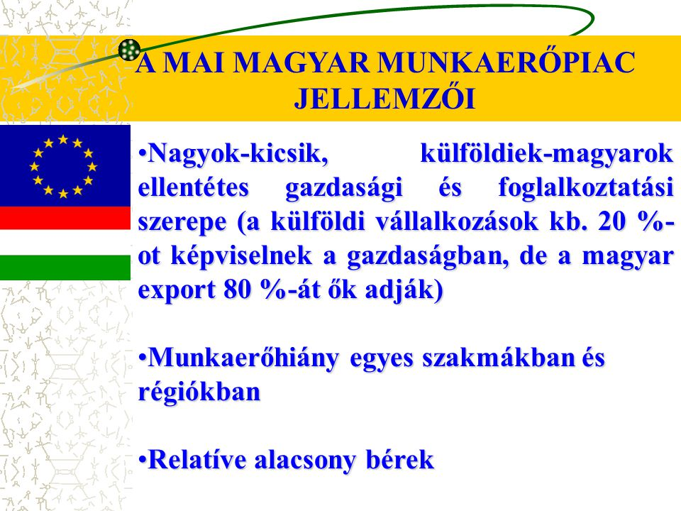 A MAI MAGYAR MUNKAERŐPIAC JELLEMZŐI Nagyok-kicsik, külföldiek-magyarok ellentétes gazdasági és foglalkoztatási szerepe (a külföldi vállalkozások kb.