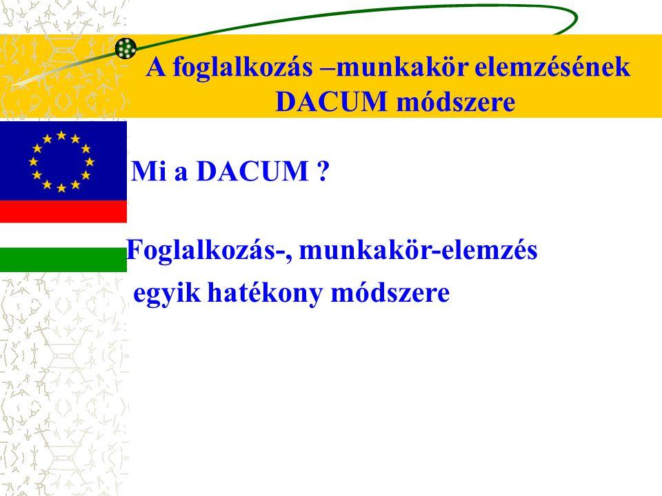 A foglalkozás –munkakör elemzésének DACUM módszere Mi a DACUM .