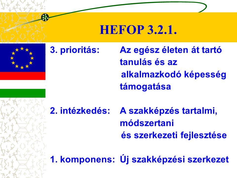 HEFOP 3.2.1. 3. prioritás: Az egész életen át tartó tanulás és az alkalmazkodó képesség támogatása 2. intézkedés:A szakképzés tartalmi, módszertani és