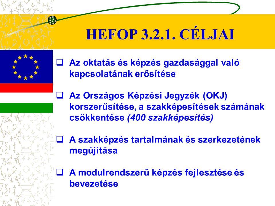 HEFOP 3.2.1. CÉLJAI  Az oktatás és képzés gazdasággal való kapcsolatának erősítése  Az Országos Képzési Jegyzék (OKJ) korszerűsítése, a szakképesíté