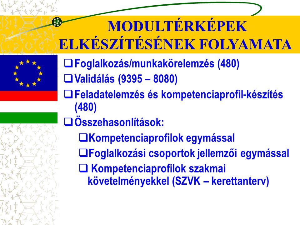 MODULTÉRKÉPEK ELKÉSZÍTÉSÉNEK FOLYAMATA  Foglalkozás/munkakörelemzés (480)  Validálás (9395 – 8080)  Feladatelemzés és kompetenciaprofil-készítés (480)  Összehasonlítások:  Kompetenciaprofilok egymással  Foglalkozási csoportok jellemzői egymással  Kompetenciaprofilok szakmai követelményekkel (SZVK – kerettanterv)