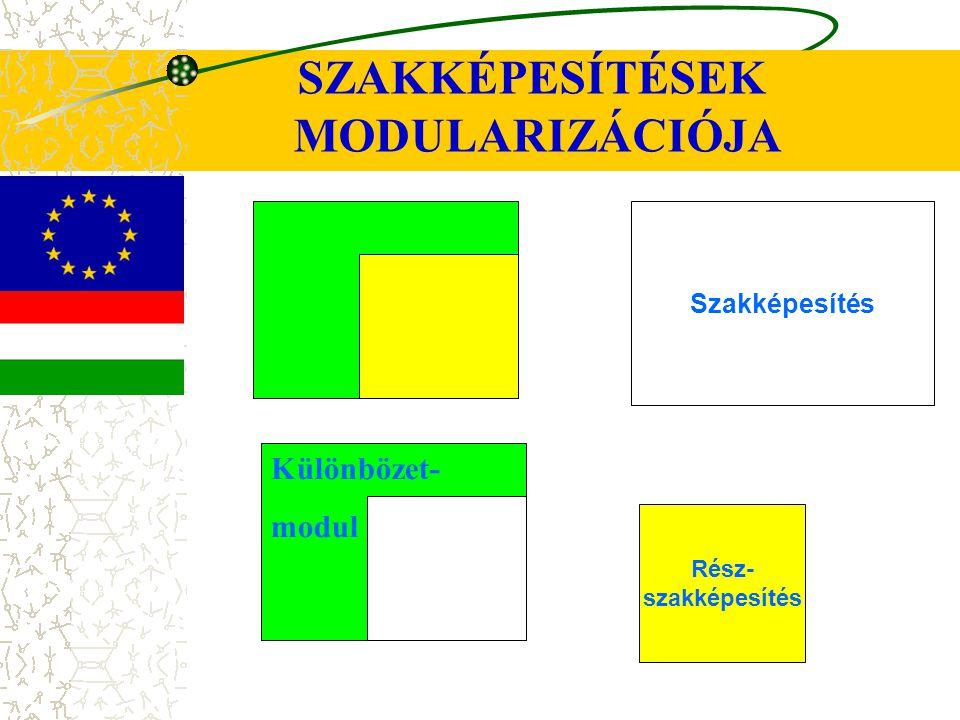SZAKKÉPESÍTÉSEK MODULARIZÁCIÓJA Szakképesítés Rész- szakképesítés Különbözet- modul