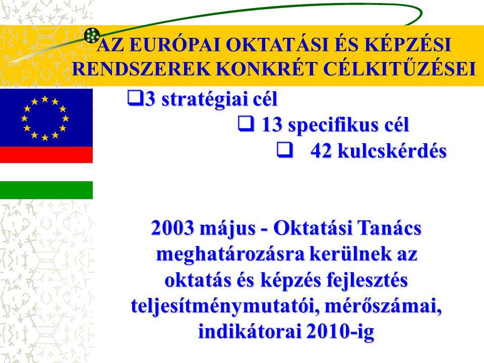 AZ EURÓPAI OKTATÁSI ÉS KÉPZÉSI RENDSZEREK KONKRÉT CÉLKITŰZÉSEI  3 stratégiai cél  13 specifikus cél  42 kulcskérdés 2003 május - Oktatási Tanács meghatározásra kerülnek az oktatás és képzés fejlesztés teljesítménymutatói, mérőszámai, indikátorai 2010-ig
