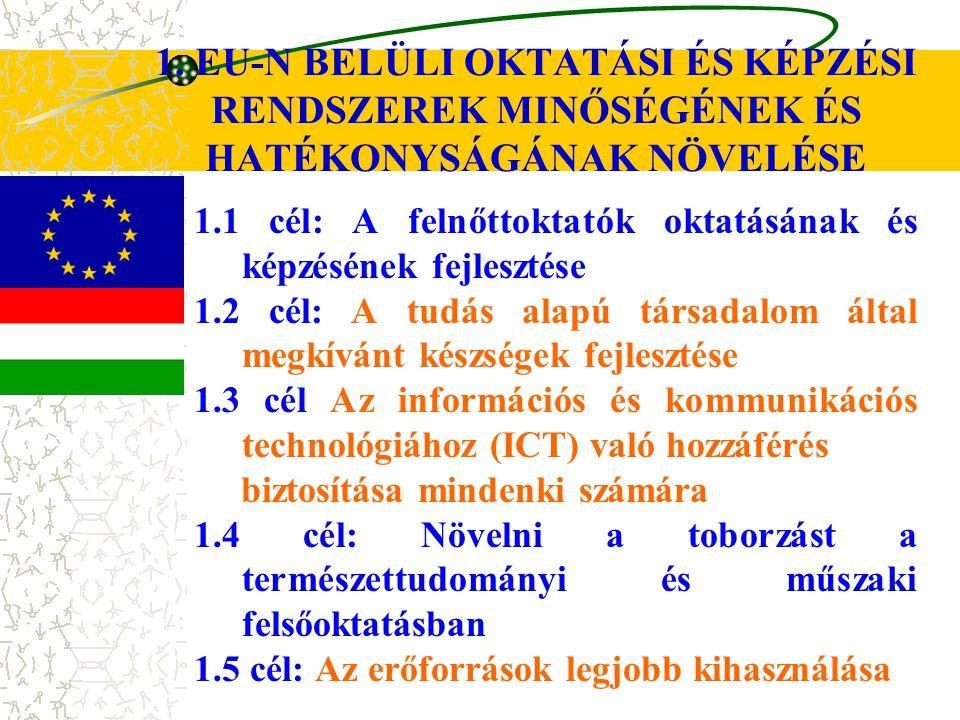 1. EU-N BELÜLI OKTATÁSI ÉS KÉPZÉSI RENDSZEREK MINŐSÉGÉNEK ÉS HATÉKONYSÁGÁNAK NÖVELÉSE 1.1 cél: A felnőttoktatók oktatásának és képzésének fejlesztése