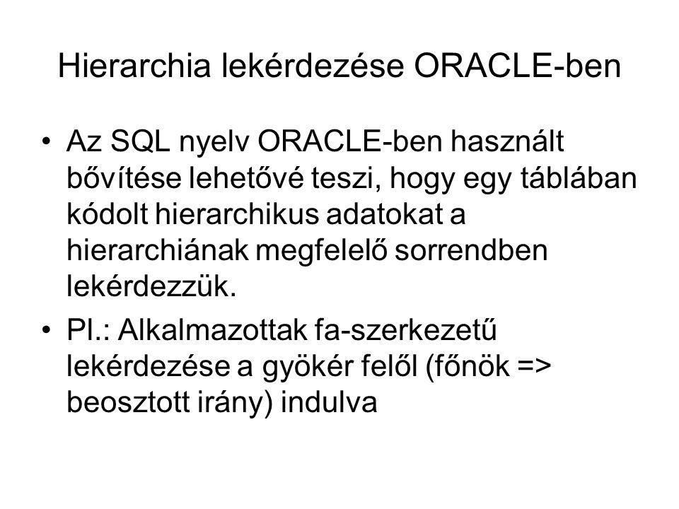 Hierarchia lekérdezése ORACLE-ben Az SQL nyelv ORACLE-ben használt bővítése lehetővé teszi, hogy egy táblában kódolt hierarchikus adatokat a hierarchi