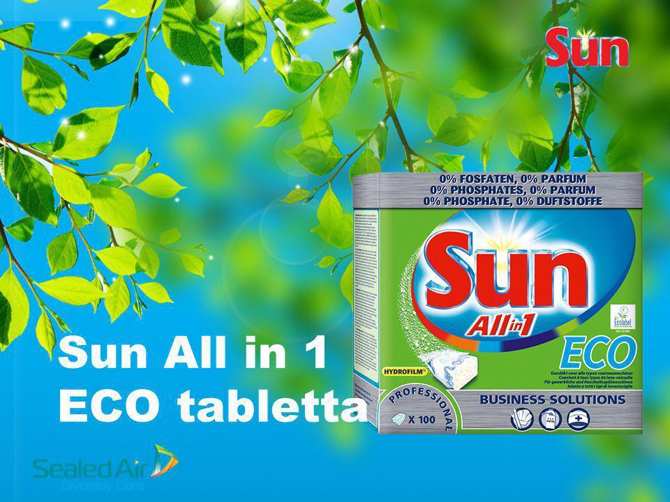 Sun All in One ECO Jellemzők és előnyök 0% Foszfáttartalom, 0% Illatanyag EU Ecolabel jóváhagyott Erős mosogatószer-, öblítőszer- és vízlágyító só funkció egyben Minden típusú, hosszú és rövid mosogatási ciklusú mosogatógéphez használható Alacsony mosogatási hőfoknál is (55°C) kiváló eredményeket biztosít Professzionális, 100 tablettás kiszerelés, vízálló tároló dobozban a nedvesség által okozott minőségromlás megelőzésére Hydrofilm bevonat, nincs szükség kicsomagolni a tablettákat, így a felhasználó nem érintkezik közvetlenül a tisztítószerrel Kontrollált adagolás