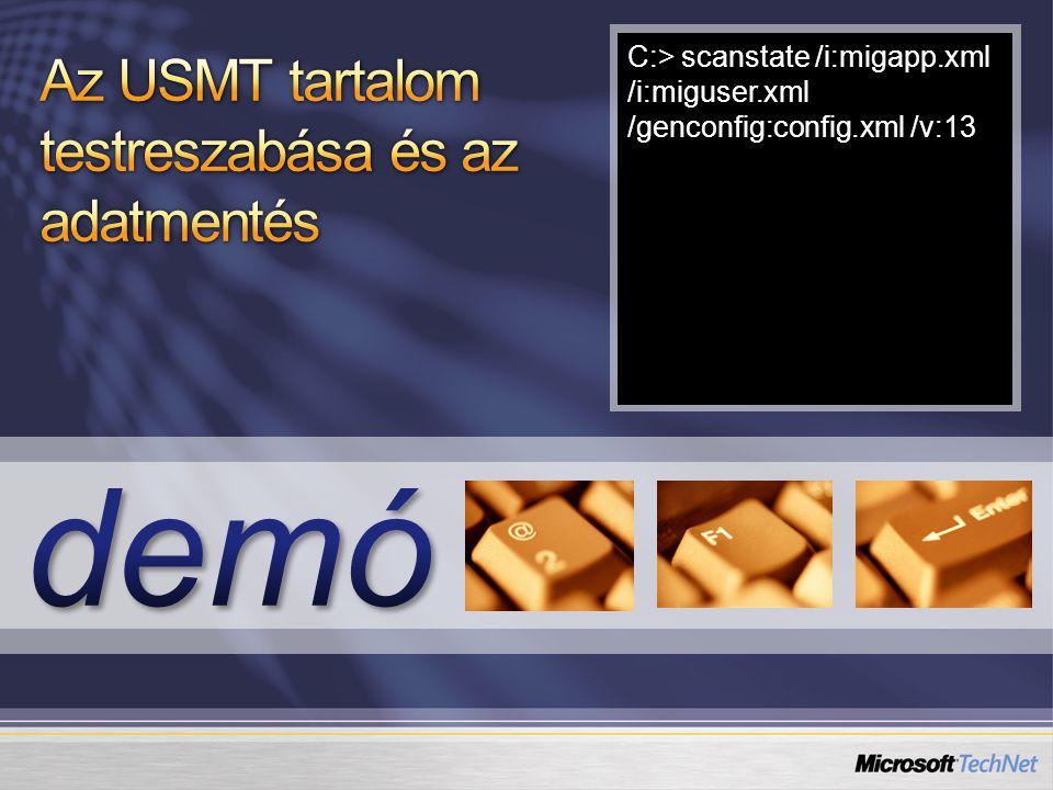 C:> scanstate /i:migapp.xml /i:miguser.xml /genconfig:config.xml /v:13