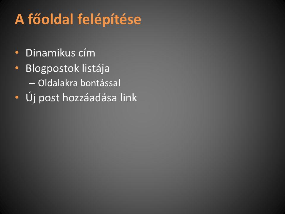 A főoldal felépítése Dinamikus cím Blogpostok listája – Oldalakra bontással Új post hozzáadása link