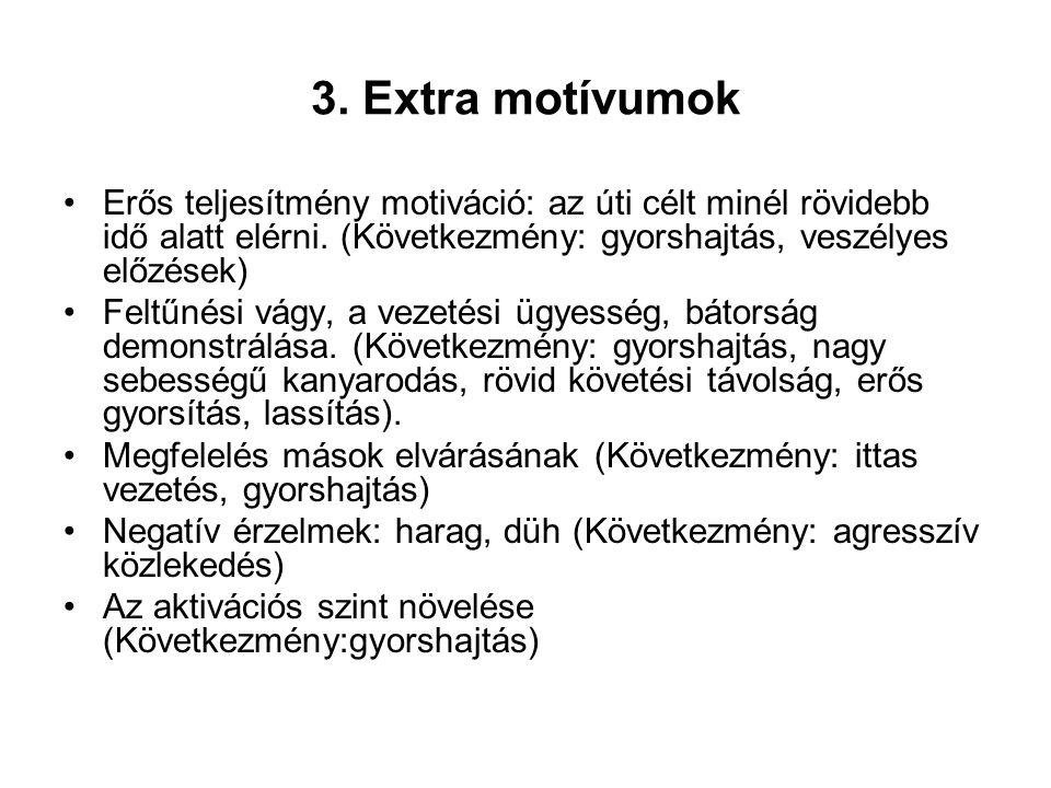 3.Extra motívumok Erős teljesítmény motiváció: az úti célt minél rövidebb idő alatt elérni.