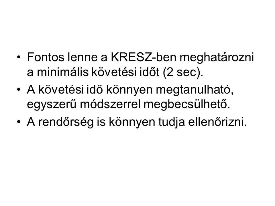 Fontos lenne a KRESZ-ben meghatározni a minimális követési időt (2 sec).