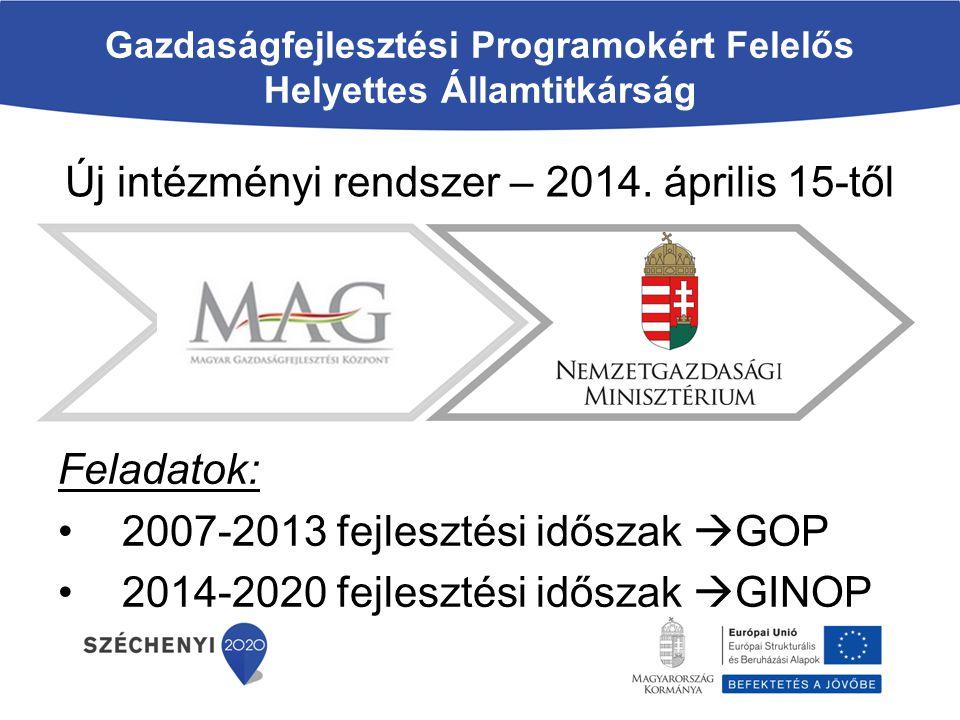 Gazdaságfejlesztési Programokért Felelős Helyettes Államtitkárság Új intézményi rendszer – 2014. április 15-től Feladatok: 2007-2013 fejlesztési idősz