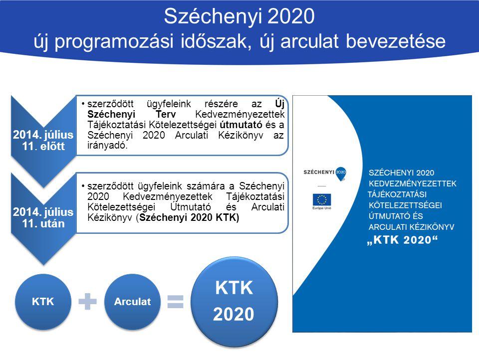 Széchenyi 2020 új programozási időszak, új arculat bevezetése 2014. július 11. előtt szerződött ügyfeleink részére az Új Széchenyi Terv Kedvezményezet