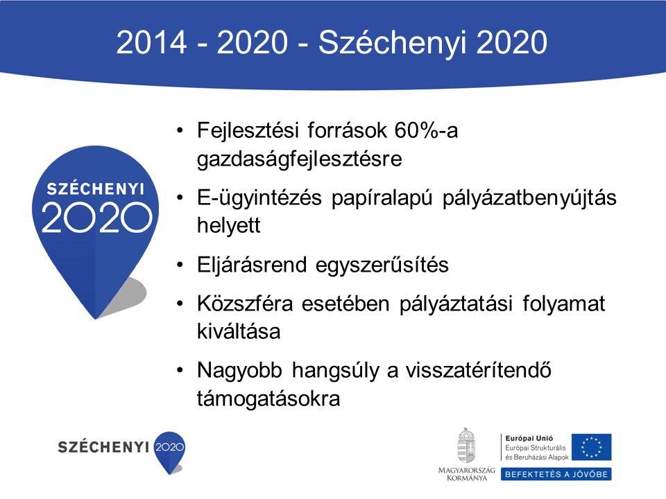 2014 - 2020 - Széchenyi 2020 Fejlesztési források 60%-a gazdaságfejlesztésre E-ügyintézés papíralapú pályázatbenyújtás helyett Eljárásrend egyszerűsít
