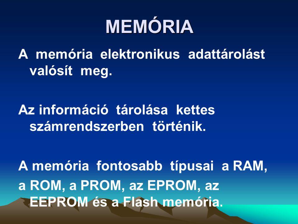 MEMÓRIA A memória elektronikus adattárolást valósít meg.