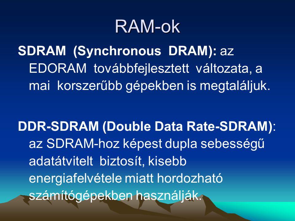 RAM-ok SDRAM (Synchronous DRAM): az EDORAM továbbfejlesztett változata, a mai korszerűbb gépekben is megtaláljuk.