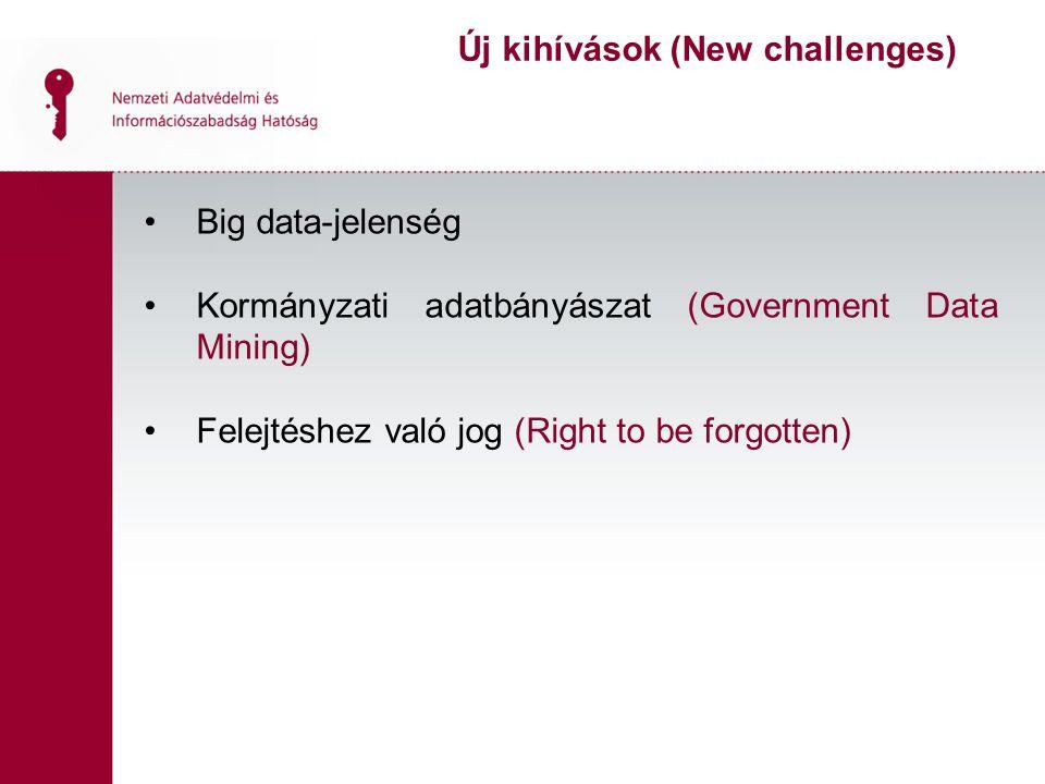 Big data-jelenség Kormányzati adatbányászat (Government Data Mining) Felejtéshez való jog (Right to be forgotten) Új kihívások (New challenges)